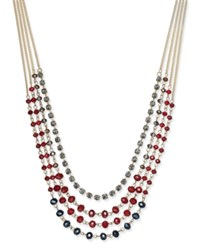 Inc International Concepts Gold Tone Multi Bead Layer Necklace Only At Macy's Merlot