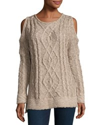 Chelsea And Theodore Marled Cold Shoulder Knit Top Cobblestone