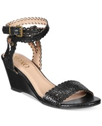 Xoxo Sissy Lasercut Demi Wedge Sandals Women's Shoes Black