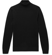 Mr P. Slim Fit Merino Wool Rollneck Sweater Black