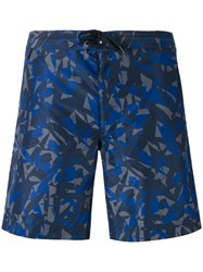Z Zegna Camouflage Print Swimming Shorts Men Polyester S Blue