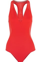 Stella Mccartney Cutout Neoprene And Mesh Swimsuit Tomato Red