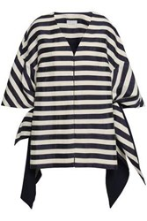 Delpozo Woman Bow Detailed Striped Linen Blend Coat Navy