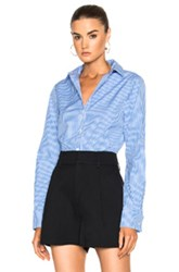 Tibi Gingham Slim Fit Shirt In Blue Checkered And Plaid White Blue Checkered And Plaid White