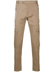 Les Hommes Skinny Utility Cargo Trousers Neutrals