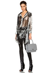 Ann Demeulemeester Wing Print Sheer Tie Waist Blouse In Black Abstract