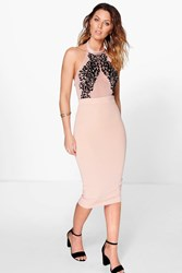 Boohoo Flocked Bodycon Midi Dress Nude
