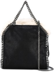 Stella Mccartney Mini 'Falabella Shaggy Deer' Tote Black