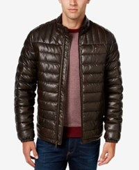 Tommy Hilfiger Men's Quilted Faux Leather Puffer Jacket Saddle