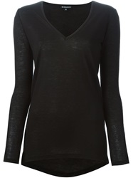 Ann Demeulemeester V Neck Long Sleeve T Shirt Black
