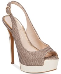 Jessica Simpson Kabale Peep Toe Slingback Platform Pumps Women's Shoes Gold Sparkle Mesh