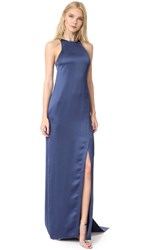 Halston Heritage High Neck Satin Gown With Back Drape Navy