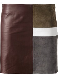 Theory Panelled Mini Skirt Brown