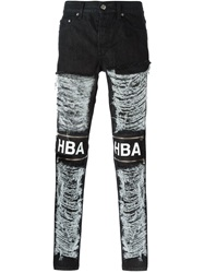 Hood By Air Logo Print Zipped Ripped Jeans Black
