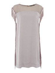 Biba Tassel Side Detail Textured Dress Light Grey