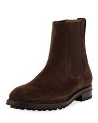Tom Ford Stuart Lug Sole Suede Ankle Boots Brown