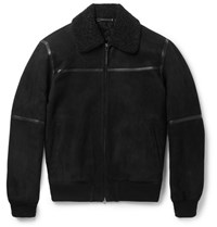 Ermenegildo Zegna Slim Fit Leather Trimmed Shearling Jacket Black
