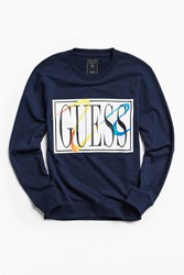 Guess James Terry Crew Neck Sweatshirt Navy