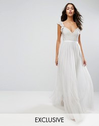 Needle And Thread Swan Tulle Maxi Dress With Frill Sleeve Spearmint Green