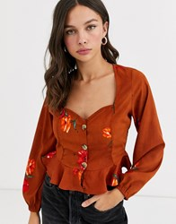 Influence Milkmaid Blouse In Rust Floral Print Orange