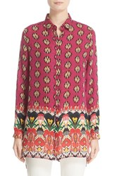 Etro Women's Ikat Paisley High Low Silk Blouse