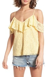 Wayf Women's Off The Shoulder Ruffle Tank Yellow Cloud