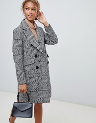 New Look Double Breasted Coat In Check Black Pattern