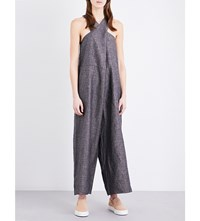 Study Ny Crossover Linen Jumpsuit Brown Stripe