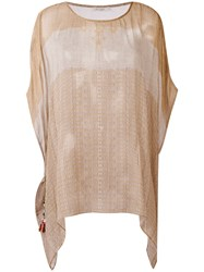 Mes Demoiselles Striped Tunic Women Cotton One Size Nude Neutrals