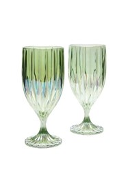 Luisa Beccaria Set Of Two Iridescent Fluted Water Glasses Green