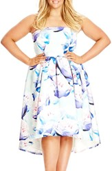 Plus Size Women's City Chic 'Perfect Peony' Strapless High Low Fit And Flare Dress