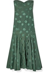 Veronica Beard Annika Silk Blend Floral Jacquard Midi Dress Dark Green
