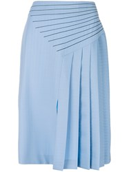 Marco De Vincenzo Side Pleated Midi Skirt Blue