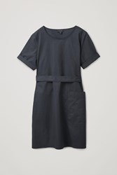 Cos Cotton Dress With Ties Black
