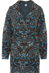 M Missoni Oversized Jacquard Knit Wool Blend Coat Blue