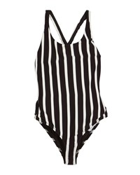 Milly Minis Striped Scoop Neck One Piece Swimsuit Black White