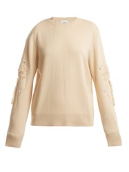 Barrie Timeless Distressed Sleeve Cashmere Sweater Beige