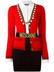 Moschino Trompe L'oeil Suit Dress Red