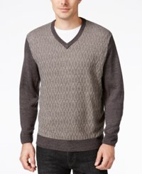Weatherproof Vintage Men's Big And Tall V Neck Sweater Gray Marl