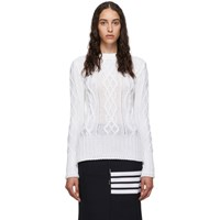 Thom Browne White Aran Cable Classic Sweater