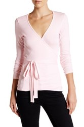 Michael Stars Ballet Wrap Surplice Top Pink