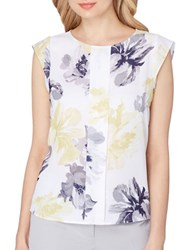 Tahari By Arthur S. Levine Petite Floral Sleeveless Blouse White Yellow