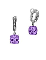Effy Amethyst And 0.925 Sterling Silver Drop Earrings