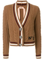 N 21 No21 Cable Knit V Neck Cardigan Polyamide Mohair Wool Brown