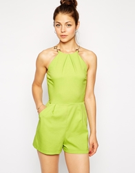 Ax Paris Playsuit With Chain Detail Lime