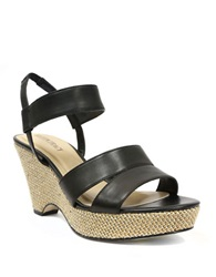 Ellen Tracy Flip Leather Wedge Sandals Black
