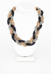 Missguided Gia Metallic Rope Twist Necklace Black