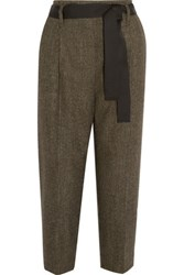 Brunello Cucinelli Belted Wool And Cashmere Blend Tweed Pants Brown