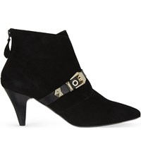 Sandro Anicia Suede Ankle Boots Black