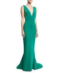 Diane Von Furstenberg Deep V Sleeveless Tailored Gown Green